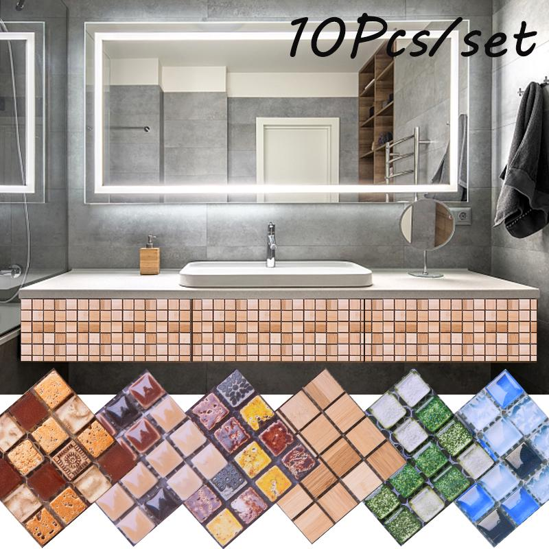 10pcs Kitchen Tile Stickers Bathroom Mosaic Sticker Wall Decors Self-adhesive