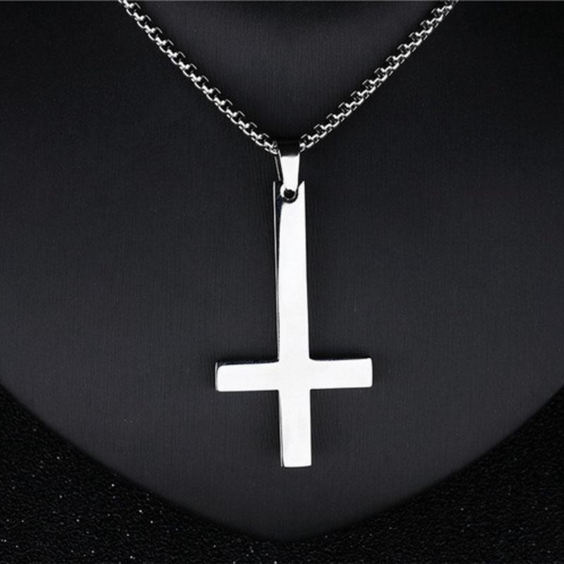 5d1abc0e4904 Крест цепи ожерелье нержавеющей Перевернутый ювелирные изделия ...