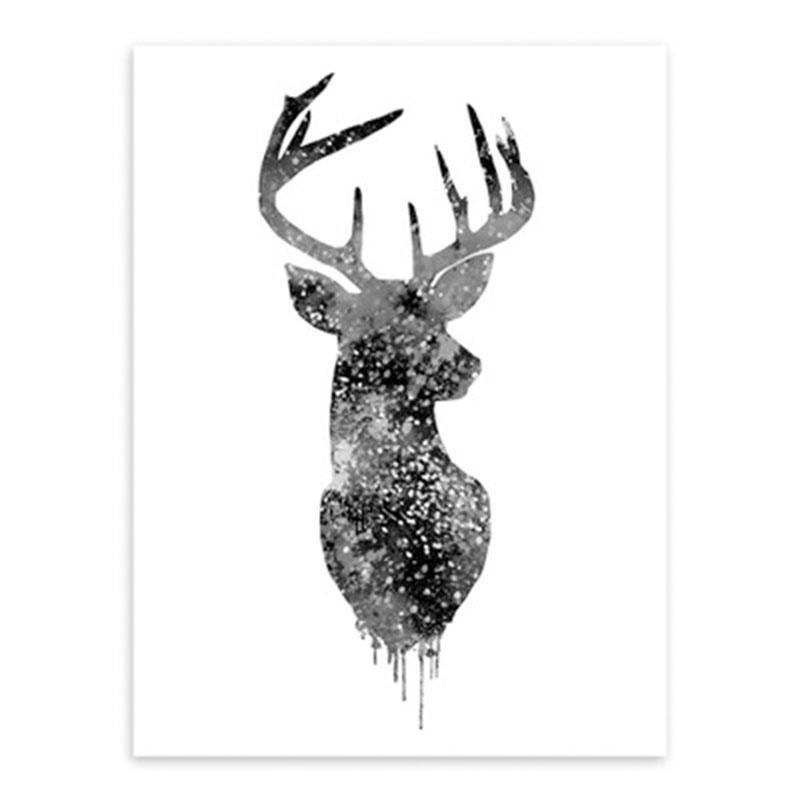 Decoración nórdica abstracto acuarela alce pared arte pintura vida ...