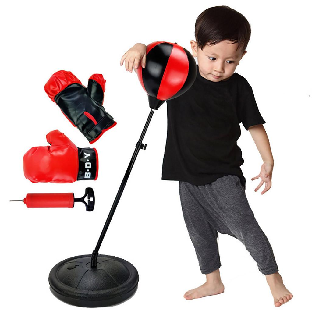 Kids Sport Boxing Punch Ball Gloves Height Adjustable Free Standing 90 x 130cm