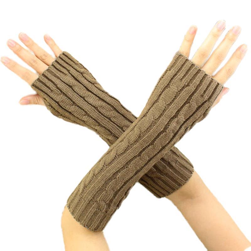 Invierno moda mujer largo de punto Crochet guantes sin dedos brazo ...