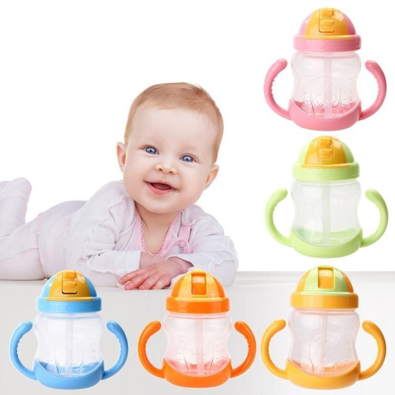 牛角把手儿童水壶 婴儿学饮水杯奶瓶 儿童吸管杯宝宝训练饮水杯280ml