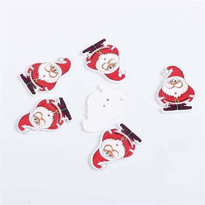 Noël Flocon de neige Boutons 50 pcs Hot rouge en bois de couture artisanat Boutons