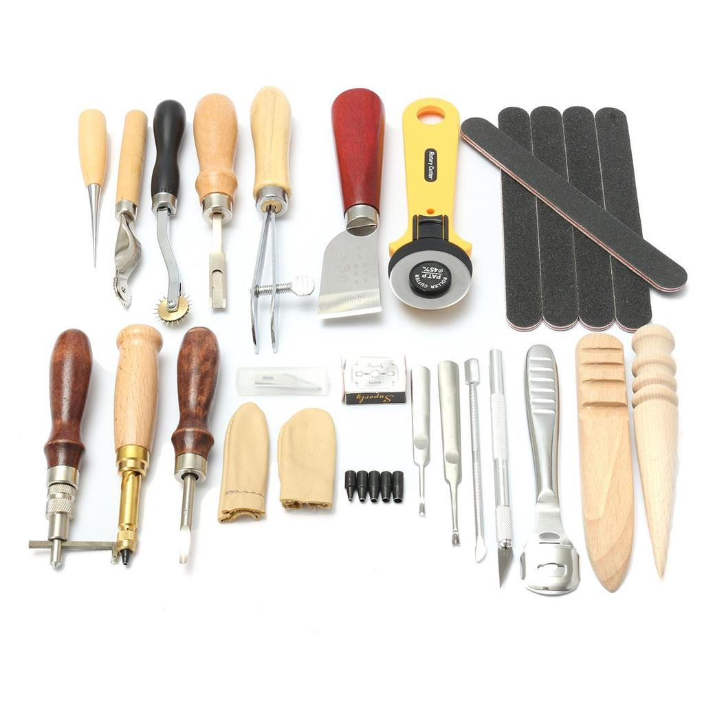 10Pcs//set Leather Crafft Wood Handle Awl Tools kit For Stitching Sewing Handwork