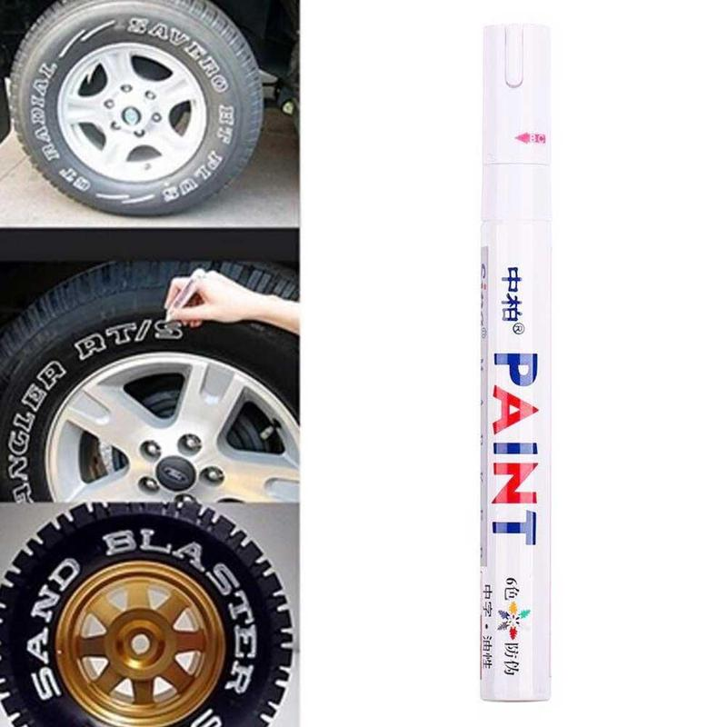 White Waterproof Car Wheel Tire Oily Mark Pen Rubber Permanent Paint Graffiti