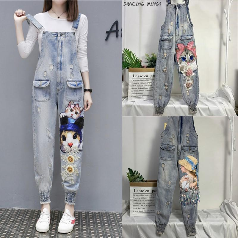 Women Print Cartoon Cat Denim Jumpsuits Rompers Overalls New Hole Loose Beaded Jean Pants Female Casual Long Pants Buy At A Low Prices On Joom E Commerce Platform