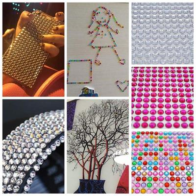 750x//set 3mm DIY Phone Car PC Decor Self-Adhesive Crystal Rhinestone Stickers FO