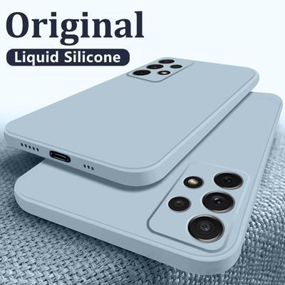 Luxury Square Liquid Silicone Case For Samsung Galaxy S21 S20 Note 20 Ultra S10 S9 S8 Plus Note 10 9 A32 A42 A52 A72 A51 A71 Full Protective Cover