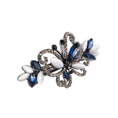 Spring Leaf Crystal Rhinestone Hollow Hair Clip Barrette Hairpin Jewelry