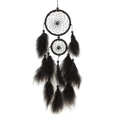 Dream Catcher 1 Piece Handmade Dreamcatcher Black Feather Lace Design Indian Dream Catcher Bead For Home Hanging Decoration Ornament Gift