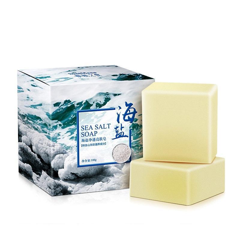 100г Морская соль Мыло Чистые Удаление Акне Козье молоко увлажняющее лицо мыть мыло фото