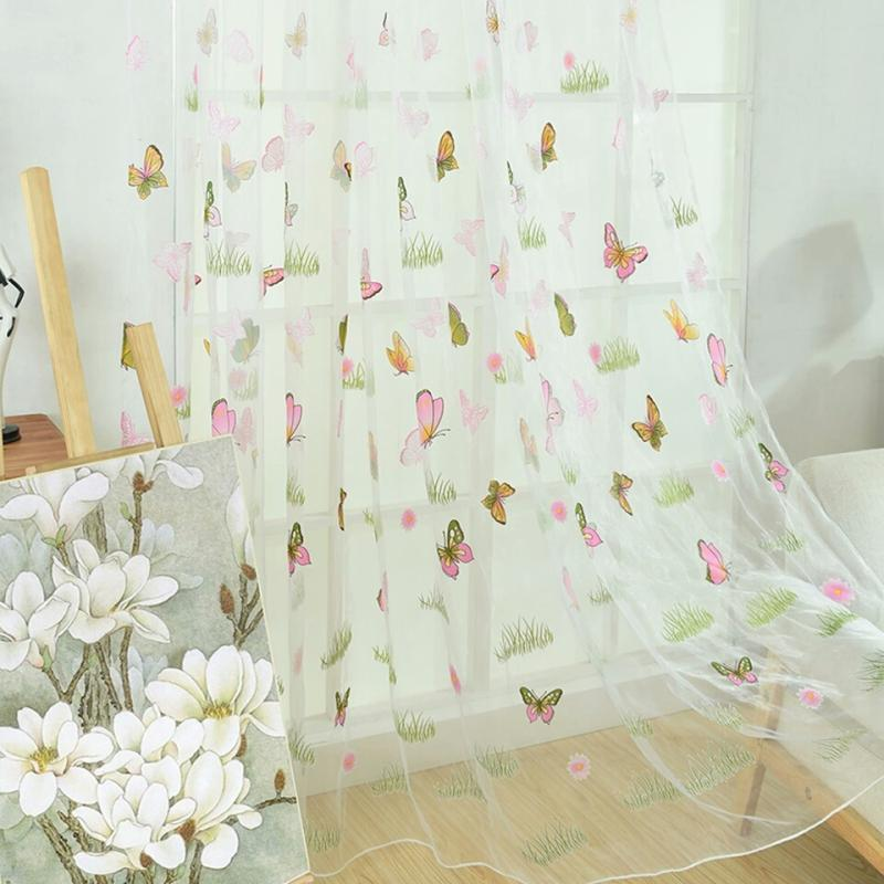 Home Bathroom Polyester Flower Butterfly Prints Ornament Window Sheer Curtain