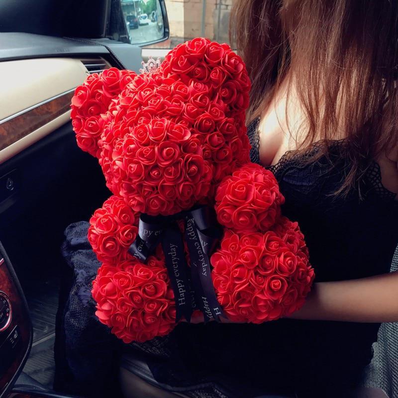 Teddy Bear OF Roses 40cm Artificial Flowers Roses Bear For Women Box Gift Home