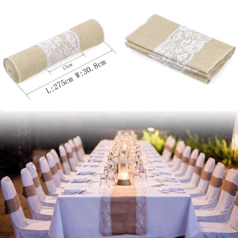 Sackleinen Spitze Tisch Laufer Jute Hochzeit Party Tischdekoration