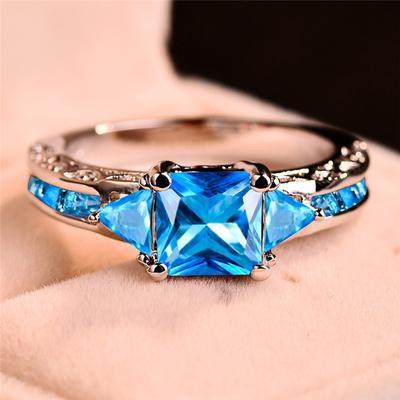18k Yellow Gold Plated Women Wedding Princess Cut White Sapphire Ring 7