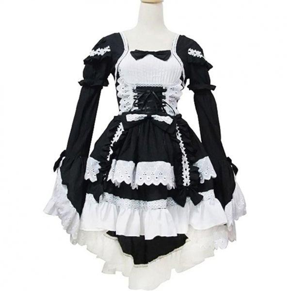 Costume Dress Women Ladies Apron Maid Meidofuku Anime Cosplay Polyester Stylish