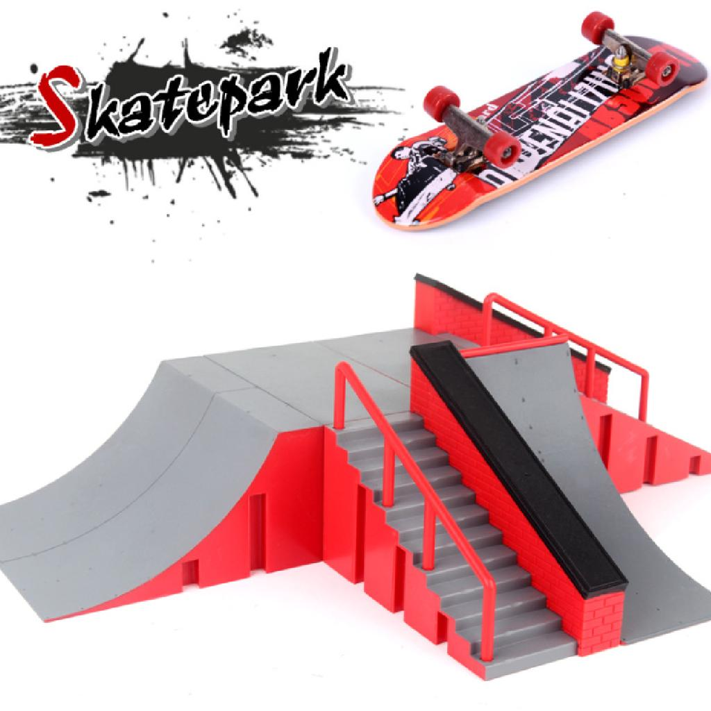 Plastic Finger Skateboard and Ramp Accessories set Kids Adults Creative Toys