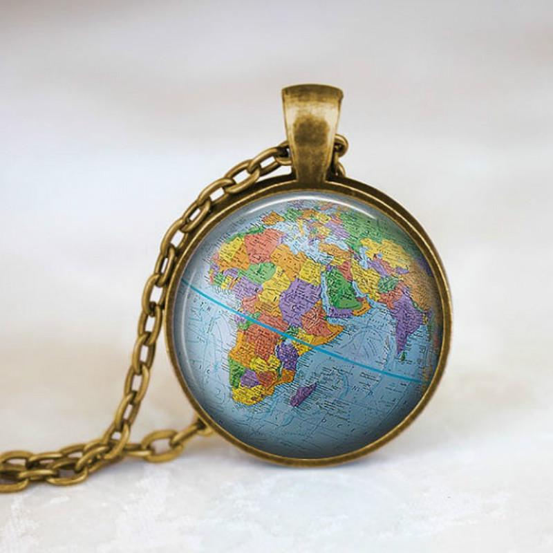 332a4b0ed783 Mundo joyas planeta collar mundo globo viaje collar mundo viajero ...