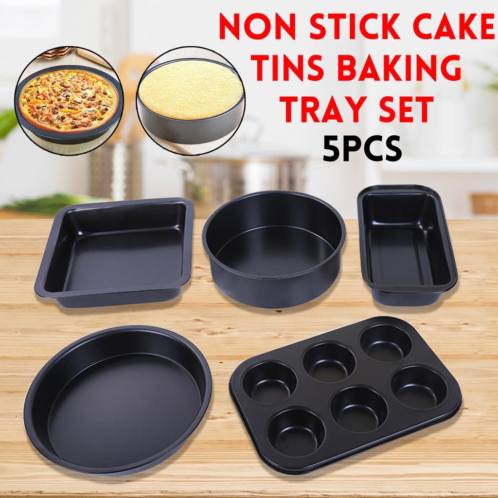 5PCS NON STICK  ROUND CAKE BAKE BAKING TIN TRAYS CAKE MOULD CAKE MAKING PLATE