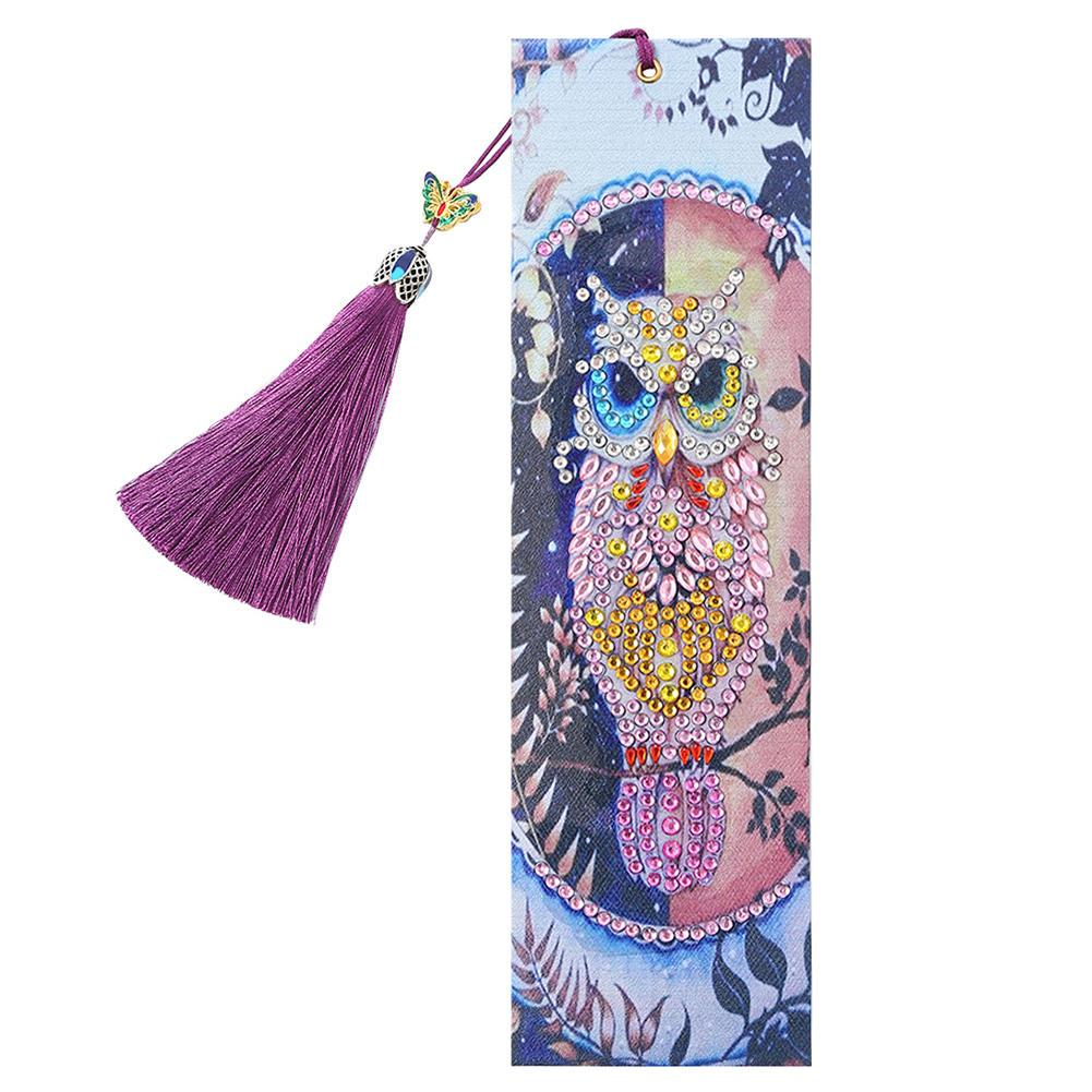 DIY Owl Special Shaped Diamond Painting Leather Bookmarks Decor Gifts w//Tassels