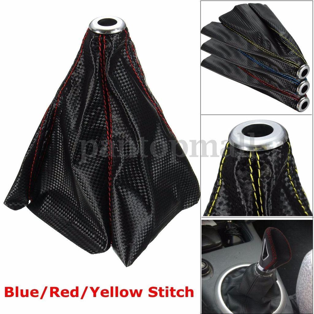 JDM Red Stitch PVC Carbon Fiber Look Shifter Shift Knob Boot Cover For FORD GMC