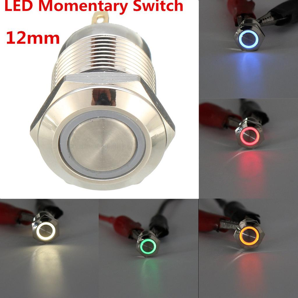 4X Durable 16mm Starter Horn Momentary Flat Push Button Stainless Steel Switch