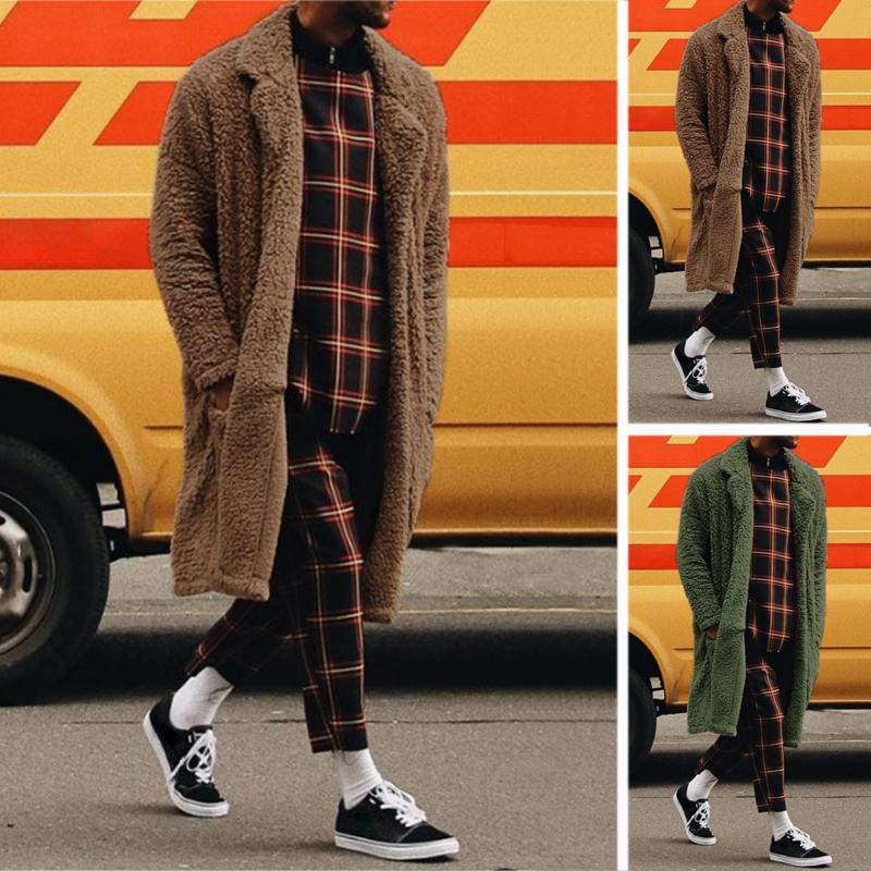 INCERUN Осень Зимние Мужчины Пушистый Теплый Длинный Кардиган Пальто Одежда Кардиганы Топы – купить по низким ценам в интернет-магазине Joom