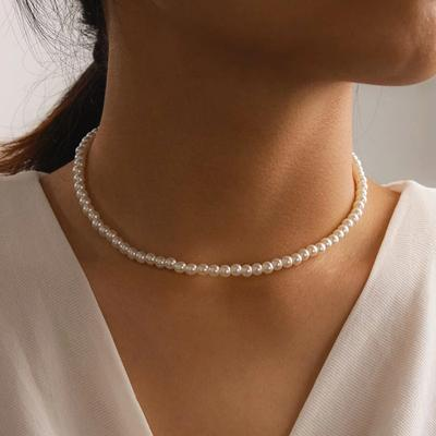 Simple Elegant White Imitation Pearl Bead Chain Choker Necklace Round Pearl Wedding Necklace for Women Charm Fashion Jewelry