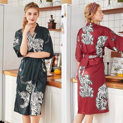 Japanese Women Faux Satin Silk Bath Robe Nightwear Sleepwear Kimono Pajamas