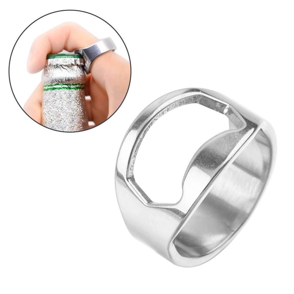 RING Beer Bottle Opener Stainless Steel Finger Thumb Keyring Chrome UK Verzamelingen