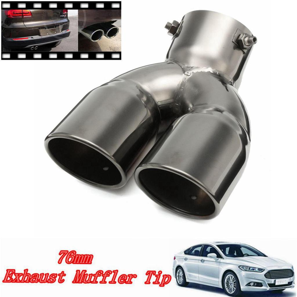 """2.5/"""" Car-styling Twin Double Dual Chorme Straight Exhaust Pipe Muffler Covers"""
