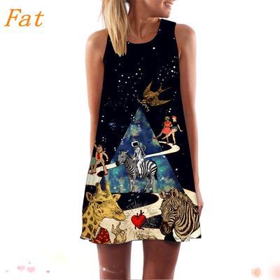 e7fc68cd2 Bohe impresión Floral 3D sin mangas tanque Mini vestido de verano Boho  Vintage mujeres sueltas