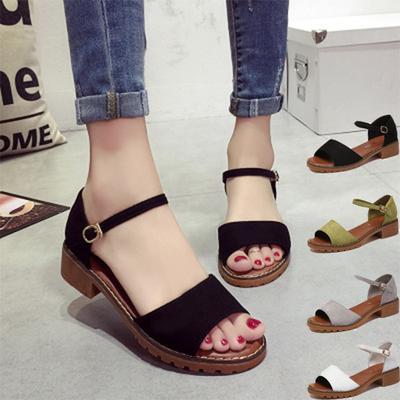 3ca77ae85 Las mujeres de moda goma sandalias gruesas bajo palabra femenina estilo  hebilla sandalias peces boca zapatos