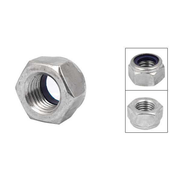 M8x1.25mm Stainless Steel Hexagonal Flange Nylon Insert Lock Nuts 10 Pieces