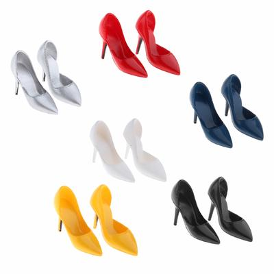 """MagiDeal 2 Pairs 1//6 High Heel Shoes for 12/"""" HT//PH Female Figures Red Gold"""