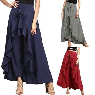 c8dd4577 Kobiety Elegancka elastyczna wysoka talia Długa spódnica Casual Lady  Culottes
