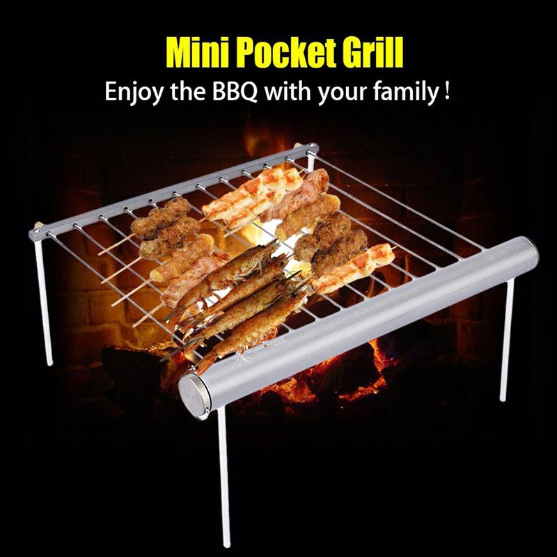 Stainless Steel Compact Mini Pocket Park Grill for Outdoor Camping ONE