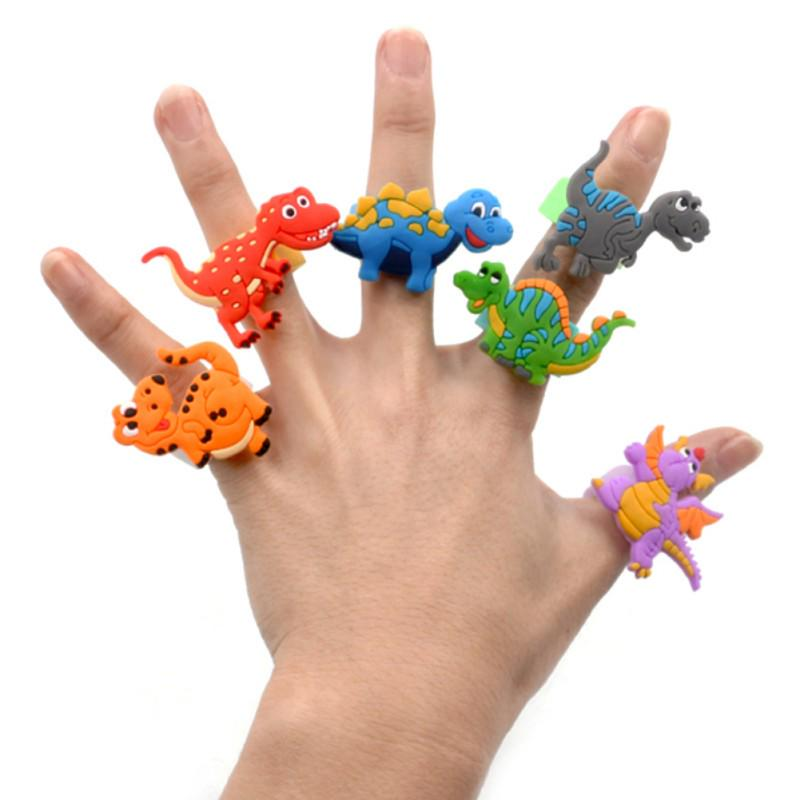 6pcs Dinosaur Ring Sunshade Finger Toys For Kids Birthday Party Favor Supplies