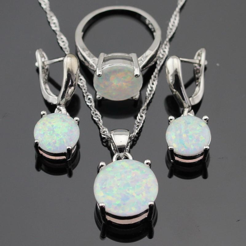 Round White Opal Silver Color Jewelry Sets For Women Necklace Pendant Earrings Rings
