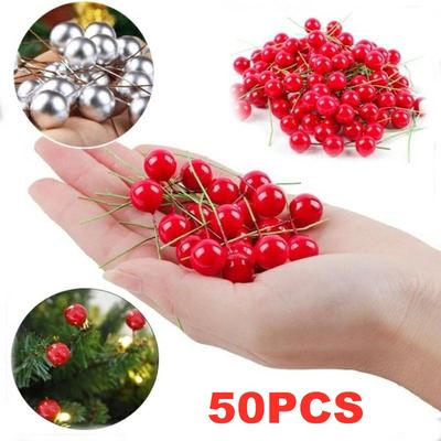 50Pcs Christmas Red Holly Berries Ornament