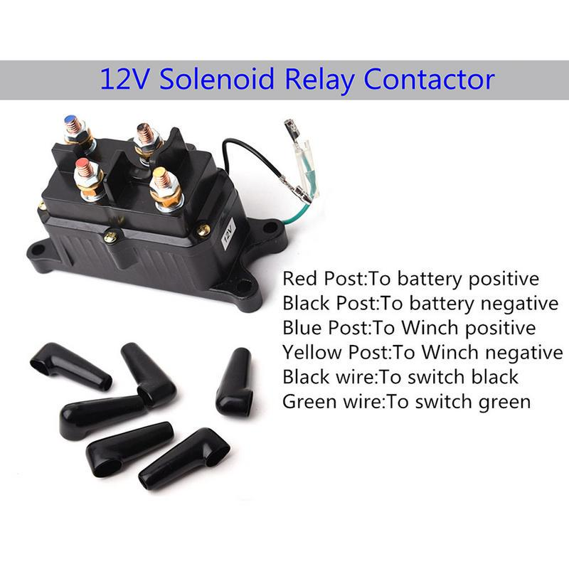12V ATV//UTV Winch Relay Solenoid Contactor Switch Handlebar Control Line