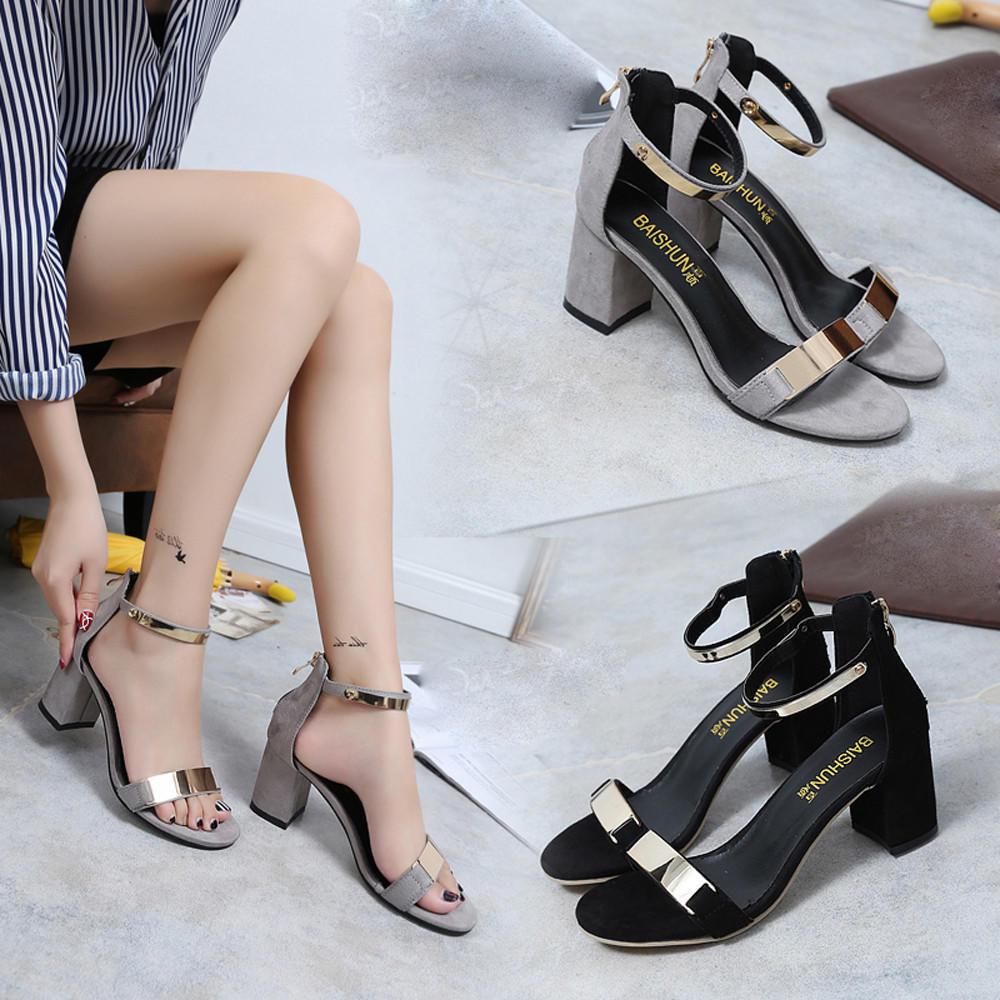 2018夏季新款欧美一字扣带性感粗跟露趾简约高跟凉鞋时尚女鞋
