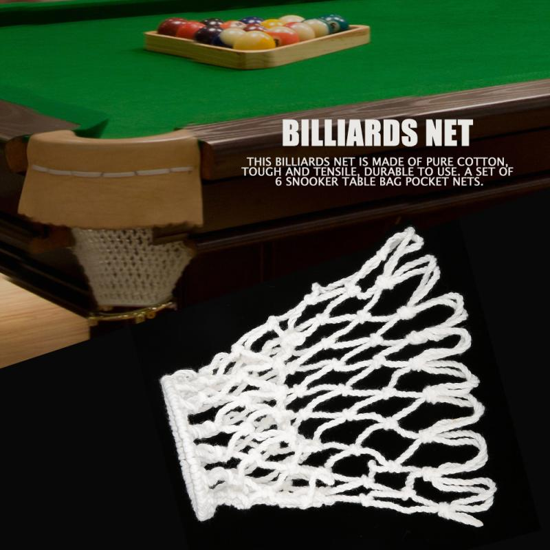 Yosoo Health Gear Snooker Pocket Net 6PCS Billiards Nets Pool Table Pocket Net Replacement Snooker Table Cotton Heavy Bags Pool Table Accessories