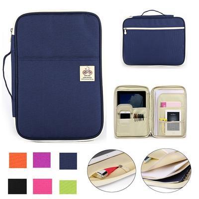 Portable Document Organizer A4 Zipper Bag Waterproof Storage Bag-Blue