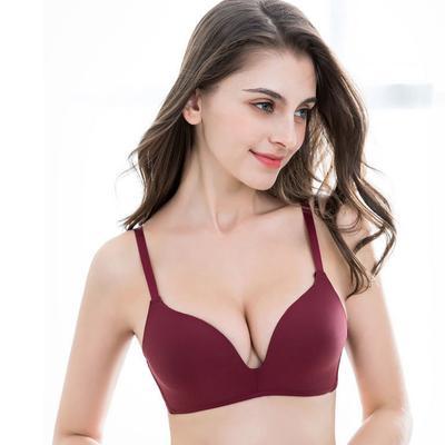 Women's Thin Seamless Gather Bra No Steel Ring Push-up Bra Pure Color Simple Bra