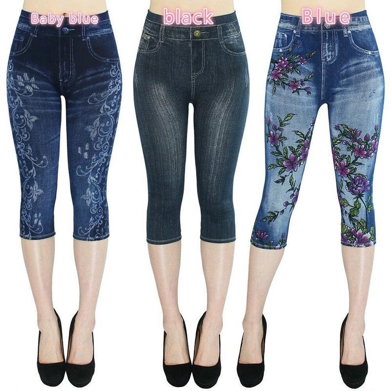 Débardeur Femmes Coupe Slim Skinny Capri Pantalon Court Pantalon Leggings Taille D/'été
