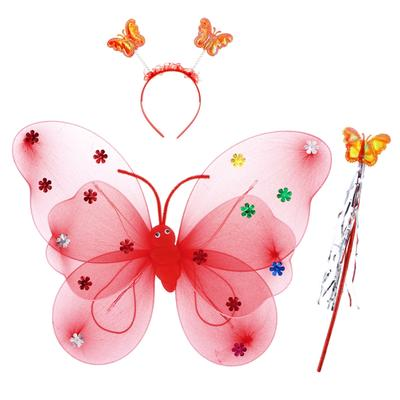 Wand Gift 3pcs Fairy Wings Butterfly Dress Up Tinker Bell Halloween Costume