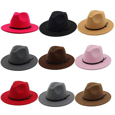 Vintage Wool Wide Brim Fedoras Hats Women Bowknot Bowler Floppy Autumn Winter Cap Church Panama Hat
