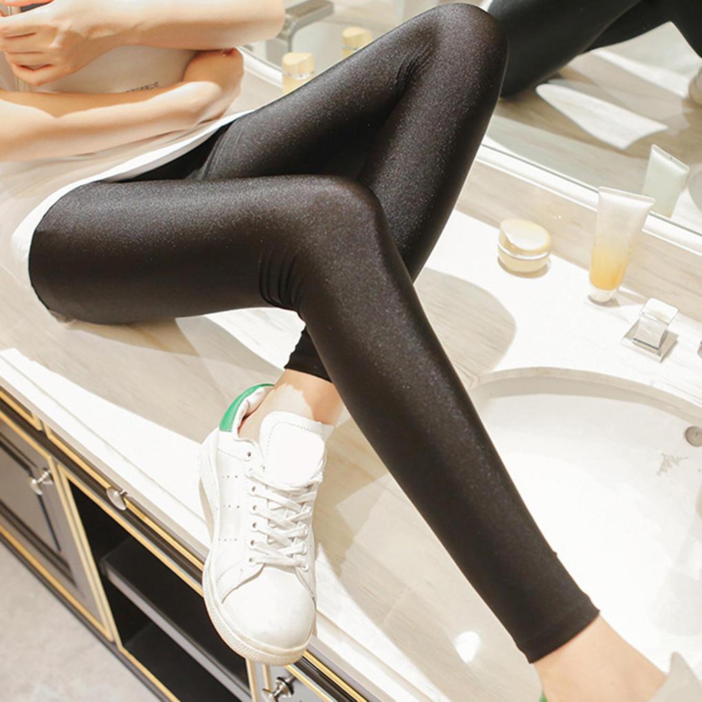 B115 包邮秋冬新款大码九分打底裤外穿显瘦裤子韩版女士光泽裤