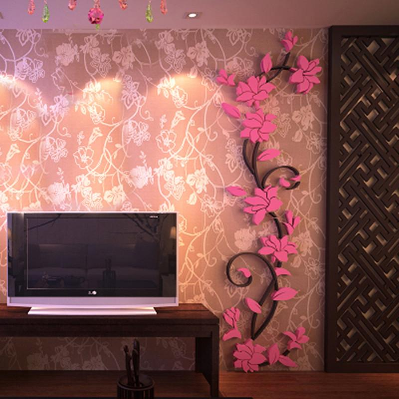 Full Colour Pink Brick Cracked Wall Sticker Decal Girls Bedroom Mural Decoration